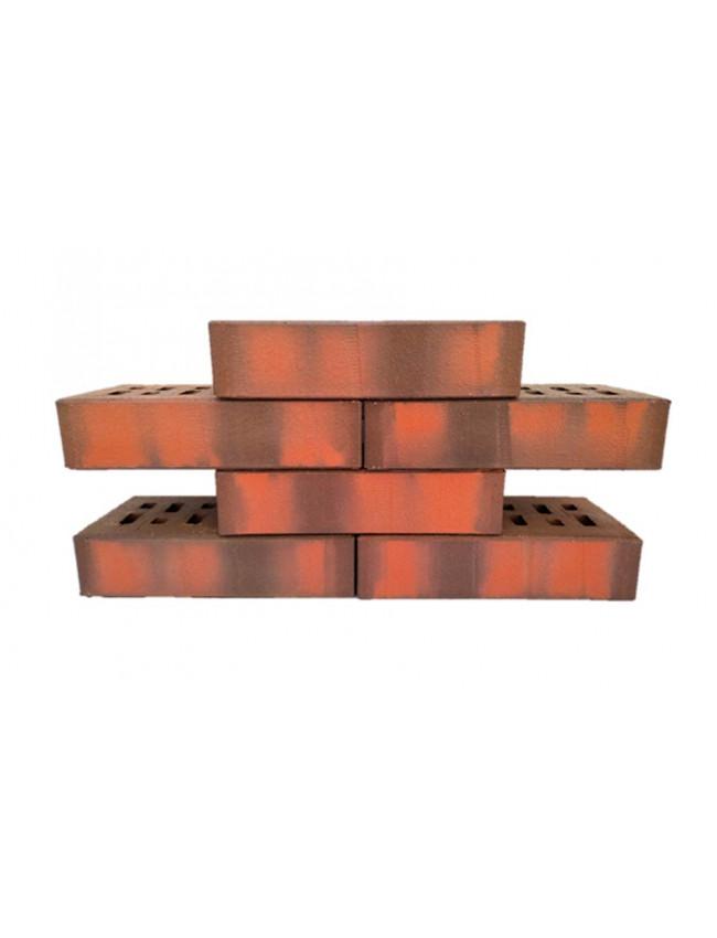 Кирпич облицовочный клинкерный ЛСР пустотелый красный флэшинг с тиснением, 210*100*50 мм